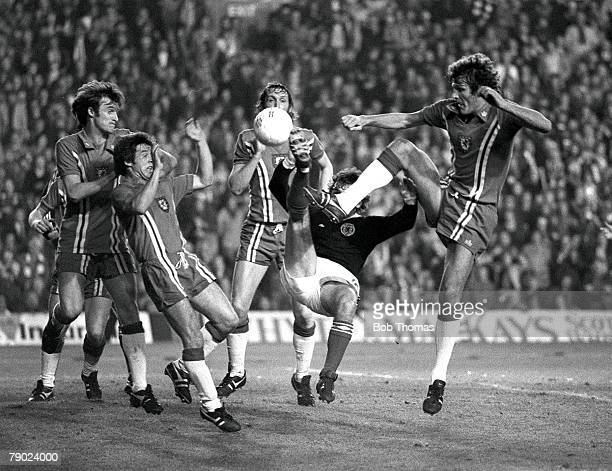 Football 1978 World Cup Qualifier Anfield England 12th October 1977 Wales 0 v Scotland 2 Safety in numbers for Wales as Leighton Phillips Brian Flynn...