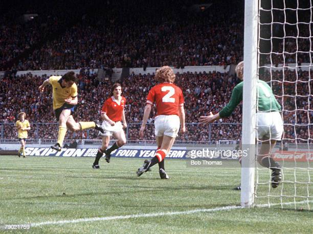 Football 1979 FA Cup Final Wembley Arsenal 3 v Manchester United 2 12th May Arsenals Frank Stapleton scores his sides second goal with a header past...