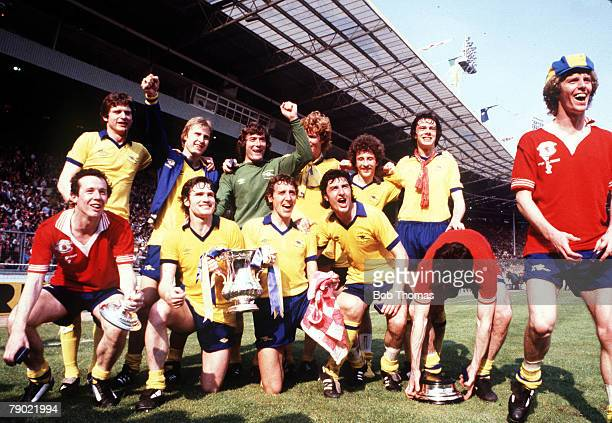 Football 1979 FA Cup Final Wembley Arsenal 3 v Manchester United 2 12th May The Arsenal team group celebrate with the trophy after the match