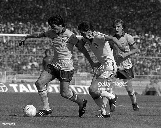 Football 1980 FA Cup Final Wembley 10th May West Ham United 1 v Arsenal 0 Arsenal striker Frank Stapleton is challenged for the ball by West Hams...