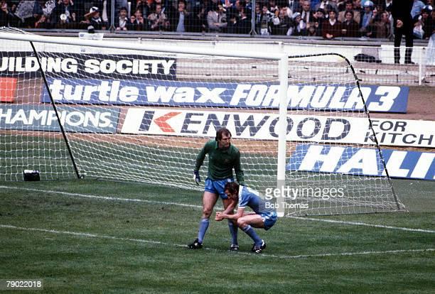 Football 1981 FA Cup Final Wembley 9th May Tottenham Hotspur 1 v Manchester City 1 Manchester City goalkeeper Joe Corrigan consoles Tommy Hutchinson...