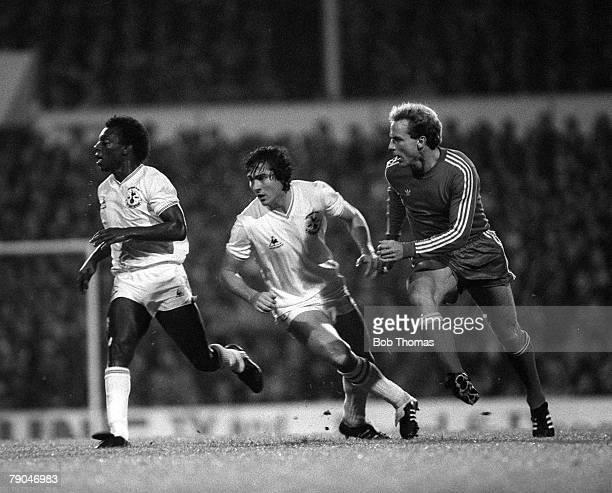 Football 1982 European Cup Winners Cup 2nd Round First Leg London England 20th October 1982 Tottenham Hotspur 1 v Bayern Munich 1 Bayern striker Karl...
