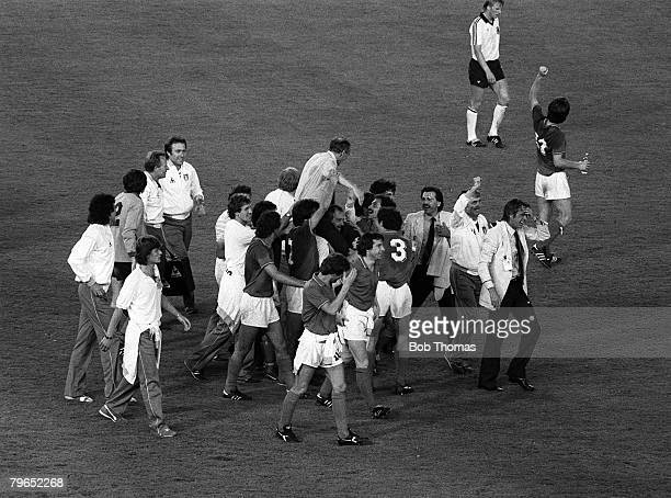 Football, 1982 World Cup Final, Madrid, Spain, 11th July 1982, Italy 3 v West Germany 1, The Italian squad celebrate on a lap of honour after...