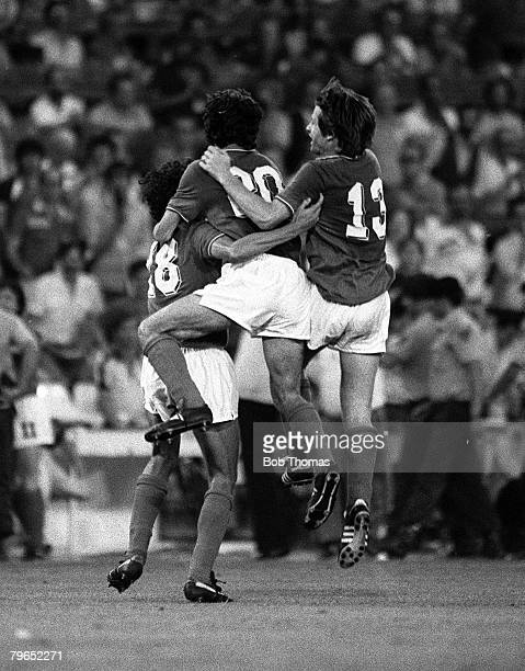 Football 1982 World Cup Final Madrid Spain 11th July 1982 Italy 3 v West Germany 1 Italian players celebrate the third goal scored by Alessandro...