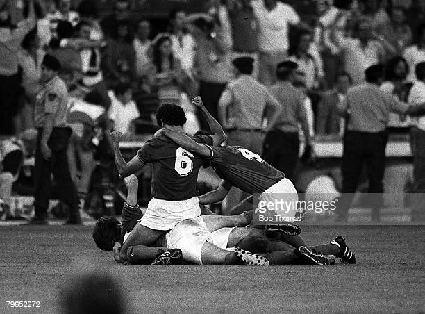 Football 1982 World Cup Final Madrid Spain 11th July 1982 Italy 3 v West Germany 1 Italian players on the ground as they celebrate the third goal...