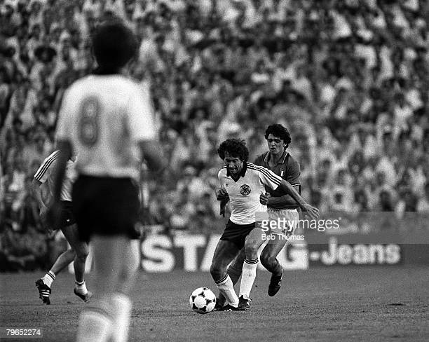 Football 1982 World Cup Final Madrid Spain 11th July 1982 Italy 3 v West Germany 1 Italy's Alessandro Altobelli challenges West Germany's Paul...