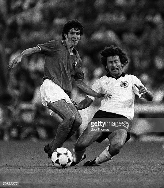 Football, 1982 World Cup Final, Madrid, Spain, 11th July 1982, Italy 3 v West Germany 1, Italy's Paolo Rossi is tackled by West Germany's Paul...