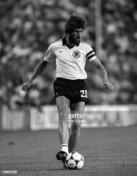 Football 1982 World Cup Final Madrid Spain 11th July 1982 Italy 3 v West Germany 1 West Germany's Manfred Kaltz on the ball