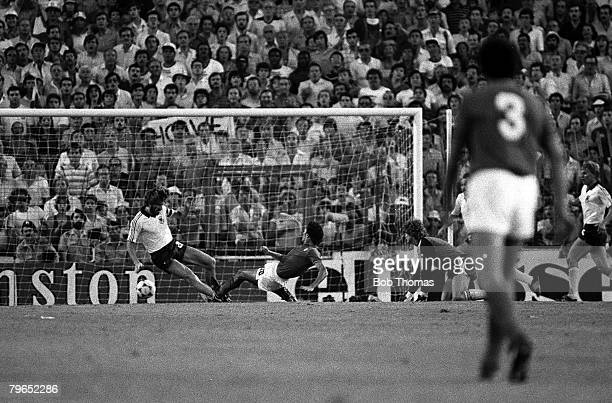 Football 1982 World Cup Final Madrid Spain 11th July 1982 Italy 3 v West Germany 1 Italy's Alessandro Altobelli beats West Germany's Manny Kaltz to...