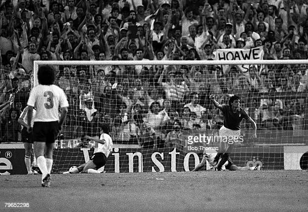 Football 1982 World Cup Final Madrid Spain 11th July 1982 Italy 3 v West Germany 1 Italy's Alessandro Altobelli turns to celebrate after scoring the...