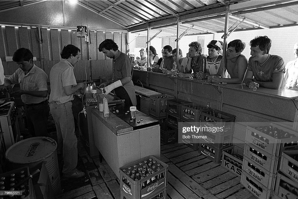 Football, 1982 World Cup Finals, Algorta, Spain, 16th June 1982, A view inside the very rough kitchens at the England fans campsite : News Photo