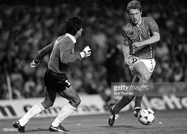 Football 1982 World Cup Finals Barcelona Spain 13th June 1982 Argentina 0 v Belgium 1 Hero Belgium's Guy Van Der Smissen goes around Argentina...