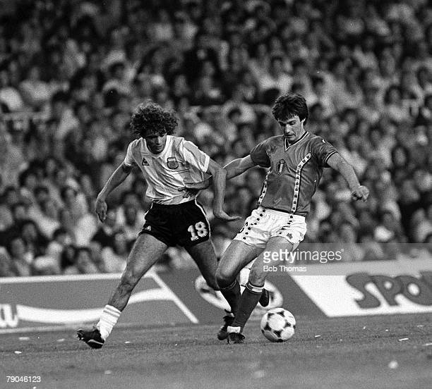 Football 1982 World Cup Finals Barcelona Spain 13th June 1982 Argentina 0 v Belgium 1 Argentina's Alberto Tarantini moves in to challenge Belgium's...