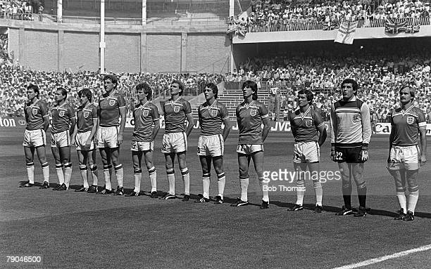 Football 1982 World Cup Finals Bilbao Spain 16th June 1982 England 3 v France 1 The England team line up before their Group D match with France
