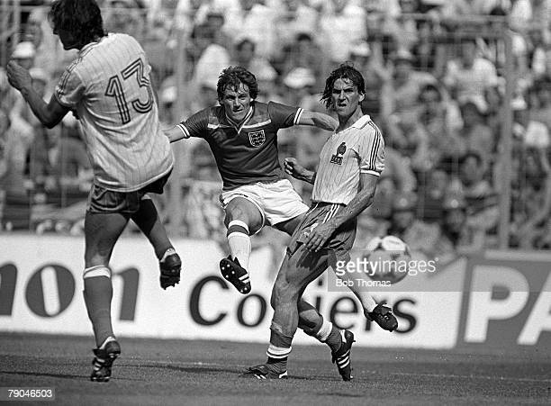 Football 1982 World Cup Finals Bilbao Spain 16th June 1982 England 3 v France 1 England's Steve Coppell shoots at goal as France's Patrick Battiston...