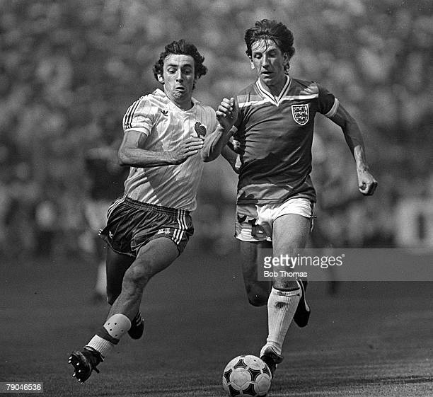 Football 1982 World Cup Finals Bilbao Spain 16th June 1982 England 3 v France 1 England's Paul Mariner is challenged for the ball by France's Maxime...