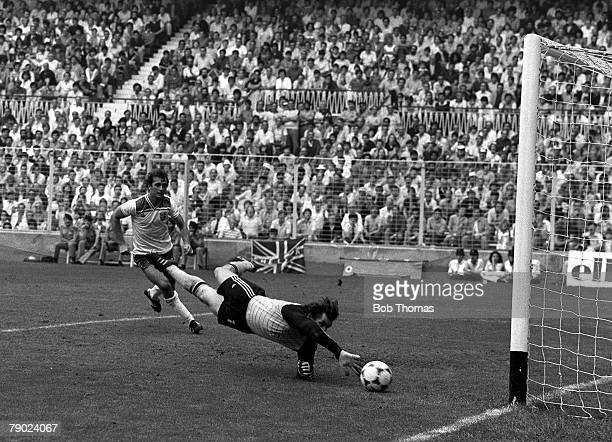 Football 1982 World Cup Finals Bilbao Spain 20th June 1982 England 2 v Czechoslovakia 0 England's Trevor Francis scores his side's first goal during...