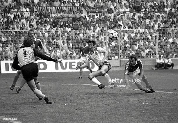 Football 1982 World Cup Finals Bilbao Spain 20th June 1982 England 2 v Czechoslovakia 0 England's Bryan Robson heads the ball narrowly wide of the...