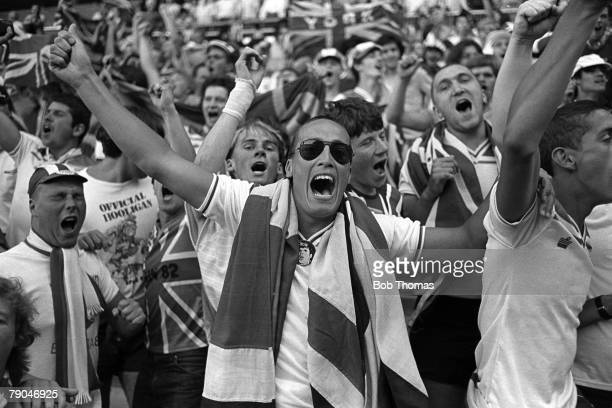 Football 1982 World Cup Finals Bilbao Spain 25th June 1982 England 1 v Kuwait 0 England fans celebrate as they qualify for the second phase following...