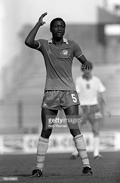 Football 1982 World Cup Finals La Coruna Spain 19th June 1982 Cameroon 0 v Poland 0 Cameroon's Elie Onana during the group A match