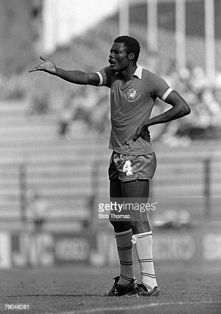 Football 1982 World Cup Finals La Coruna Spain 19th June 1982 Cameroon 0 v Poland 0 Cameroon's Rene Ndjeya during the group A match