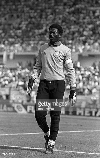 Football 1982 World Cup Finals La Coruna Spain 19th June 1982 Cameroon 0 v Poland 0 Cameroon's goalkeeper Thomas N'Kono during the group A match