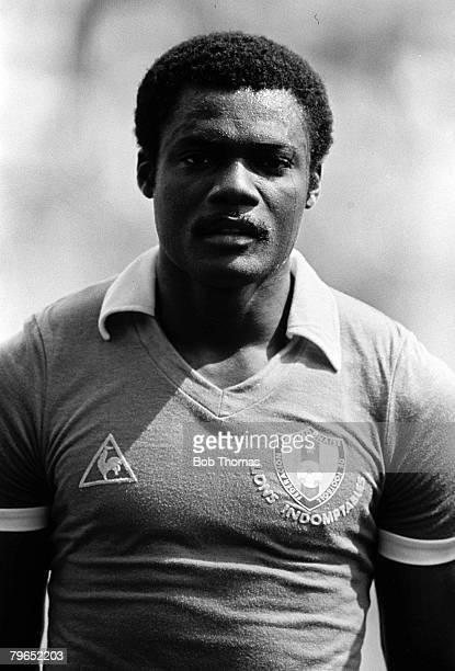 Football 1982 World Cup Finals La Coruna Spain 19th June 1982 Cameroon 0 v Poland 0 Portrait of Cameroon's Rene Ndjeya before the group A match