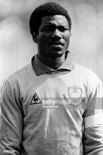 Football 1982 World Cup Finals La Coruna Spain 19th June 1982 Cameroon 0 v Poland 0 Portrait of Cameroon goalkeeper Thomas N'Kono before the group A...