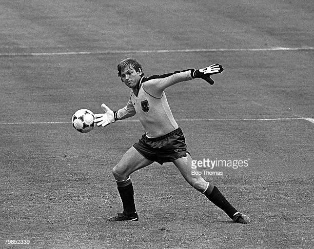 Football 1982 World Cup Finals Madrid Spain 1st July 1982 Austria 2 v Northern Ireland 2 Austrian goalkeeper Friedrich Koncilla nearly scores an own...