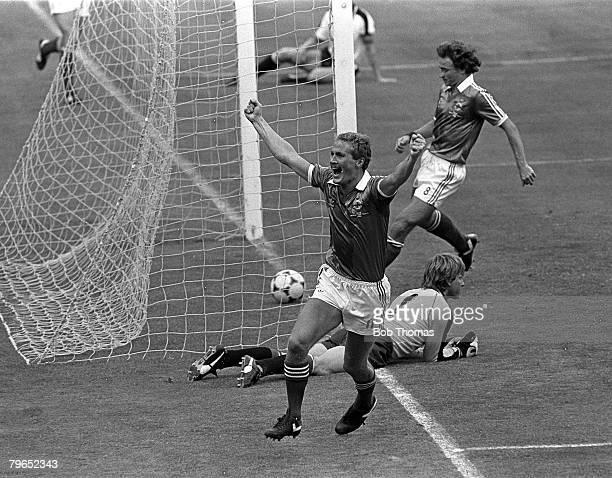 Football 1982 World Cup Finals Madrid Spain 1st July 1982 Austria 2 v Northern Ireland 2 Northern Ireland's Billy Hamilton celebrates after scoring...