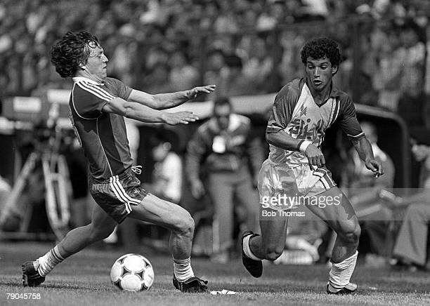Football 1982 World Cup Finals Oviedo Spain 24th June 1982 Algeria 3 v Chile 2 Chile's Mario Galindo tries to block Algeria's Hocine Yahi from the...