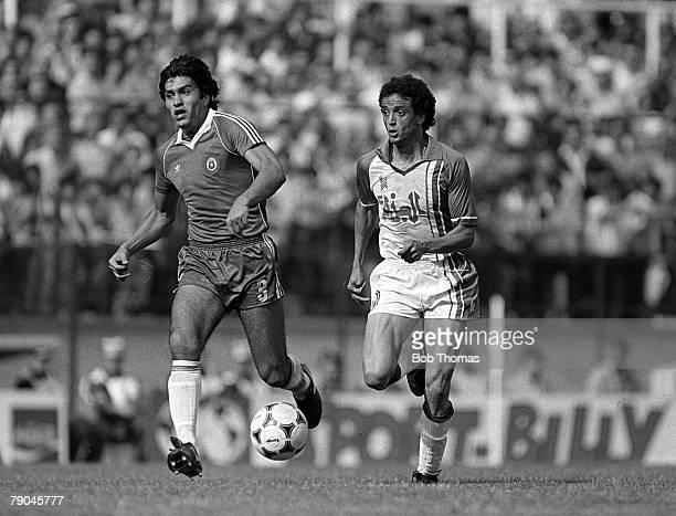 Football 1982 World Cup Finals Oviedo Spain 24th June 1982 Algeria 3 v Chile 2 Algeria's Tedj Bensadula on the ball chased by Chile's Rene Valenzuela...