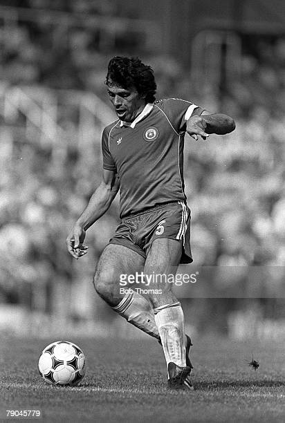 Football 1982 World Cup Finals Oviedo Spain 24th June 1982 Algeria 3 v Chile 2 Chile's Elias Figueroa on the ball during their Group B match