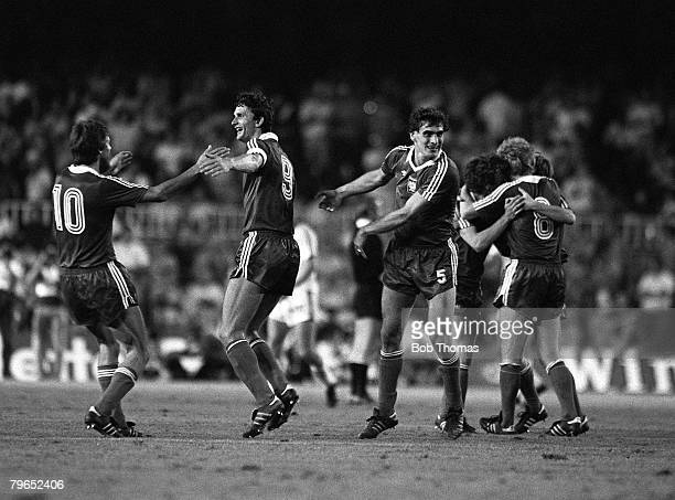 Football 1982 World Cup Finals Second Phase Group A Barcelona Spain 4th July 1982 Poland 0 v USSR 0 Poland' players embrace as they celebrate their...