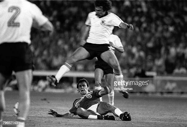 Football, 1982 World Cup Finals, Second Phase, Group B, Madrid, Spain, 29th June 1982, England 0 v West Germany 0, West Germany's Paul Breitner jumps...