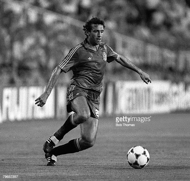 Football 1982 World Cup Finals Second Phase Group B Madrid Spain 2nd July 1982 West Germany 2 v Spain 1 Spain's Quini on the ball
