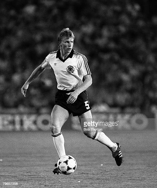 Football 1982 World Cup Finals Second Phase Group B Madrid Spain 2nd July 1982 West Germany 2 v Spain 1 West Germany's Bernd Foerster on the ball