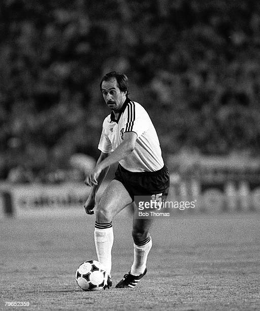 Football 1982 World Cup Finals Second Phase Group B Madrid Spain 2nd July 1982 West Germany 2 v Spain 1 West Germany's Uli Stielike on the ball
