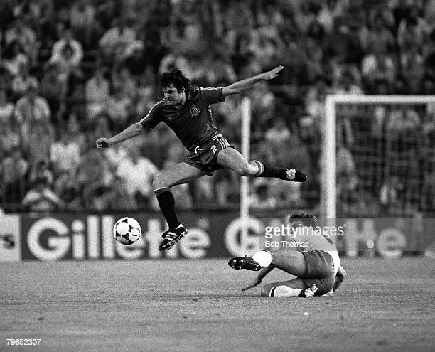 Football 1982 World Cup Finals Second Phase Group B Madrid Spain 5th July 1982 Spain 0 v England 0 Spain's Jose Camacho jumps clear of the challenge...