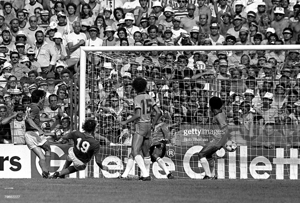 Football, 1982 World Cup Finals, Second Phase, Group C, Barcelona, Spain, 5th July 1982, Italy 3 v Brazil 2, Italy's Paolo Rossi scores the winning goal to complete his hatrick and take his team through to the semi-finals : News Photo