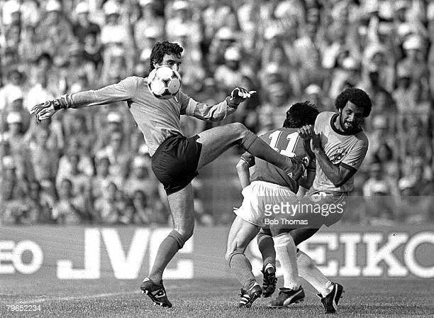 Football 1982 World Cup Finals Second Phase Group C Barcelona Spain 5th July 1982 Italy 3 v Brazil 2 Italian goalkeeper Dino Zoff clears the ball...