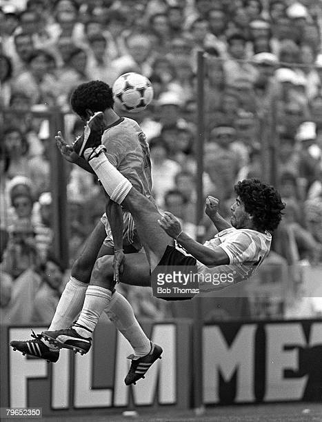 Football 1982 World Cup Finals Second Phase Group C Barcelona Spain 2nd July 1982 Brazil 3 v Argentina 1 Argentina's Diego Maradona tackles Brazil's...