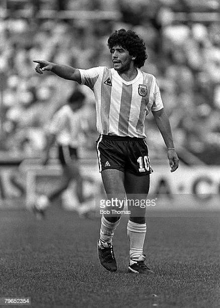Football 1982 World Cup Finals Second Phase Group C Barcelona Spain 2nd July 1982 Brazil 3 v Argentina 1 Argentina's Diego Maradona