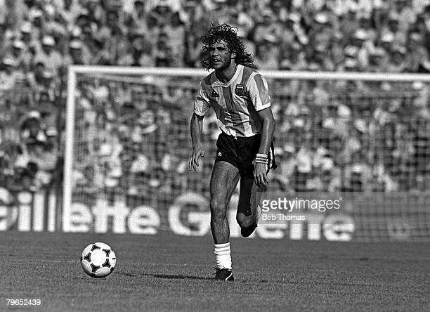 Football 1982 World Cup Finals Second Phase Group C Barcelona Spain 29th June 1982 Italy 2 v Argentina 1 Argentina's Alberto Tarantini on the ball