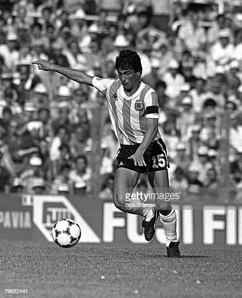 Football 1982 World Cup Finals Second Phase Group C Barcelona Spain 29th June 1982 Italy 2 v Argentina 1 Argentina's Daniel Passarella on the ball