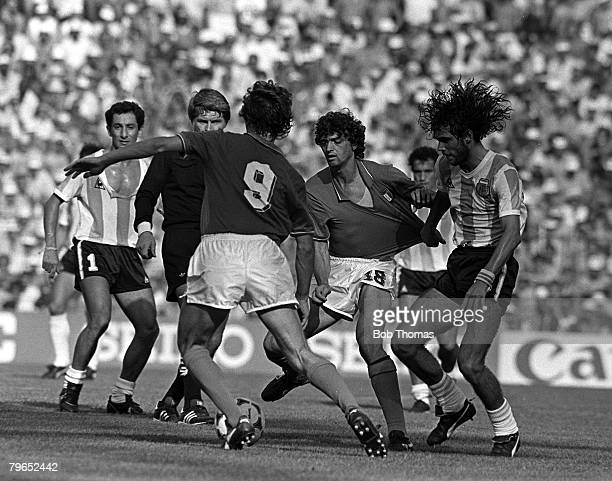 Football 1982 World Cup Finals Second Phase Group C Barcelona Spain 29th June 1982 Italy 2 v Argentina 1 Italy's Alessandro Altobelli has his shirt...