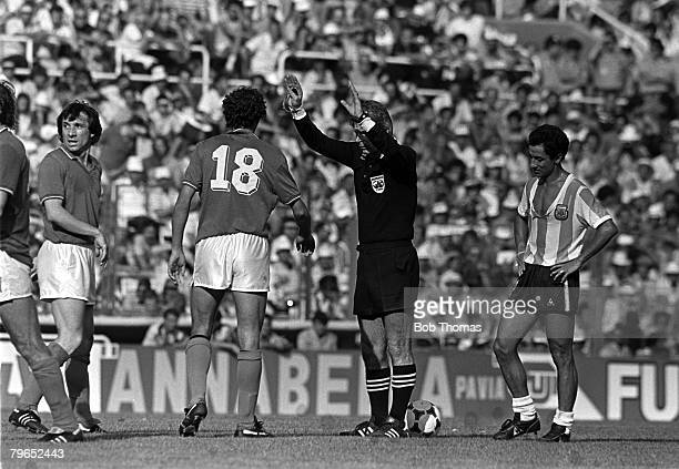 Football 1982 World Cup Finals Second Phase Group C Barcelona Spain 29th June 1982 Italy 2 v Argentina 1 Italy's Alessandro Altobelli is waved away...