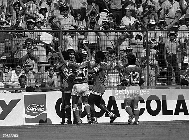 Football 1982 World Cup Finals Second Phase Group D Madrid Spain 28th June 1982 France 1 v Austria 0 France's Bernard Genghini celebrates with...