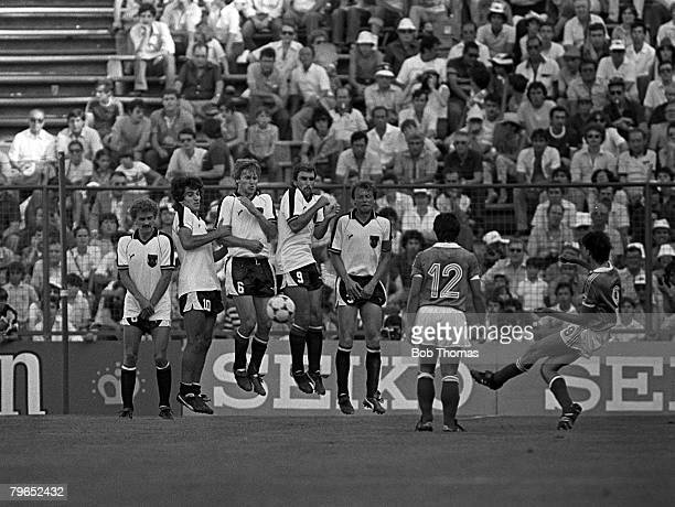 Football 1982 World Cup Finals Second Phase Group D Madrid Spain 28th June 1982 France 1 v Austria 0 France's Bernard Genghini shoots a free kick...