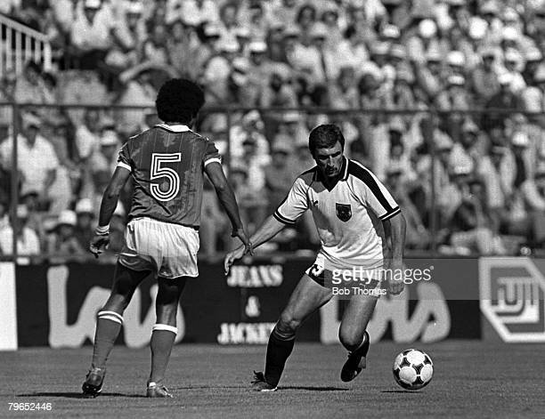 Football 1982 World Cup Finals Second Phase Group D Madrid Spain 28th June 1982 France 1 v Austria 0 Austria's Hans Krankl is faced by France's...